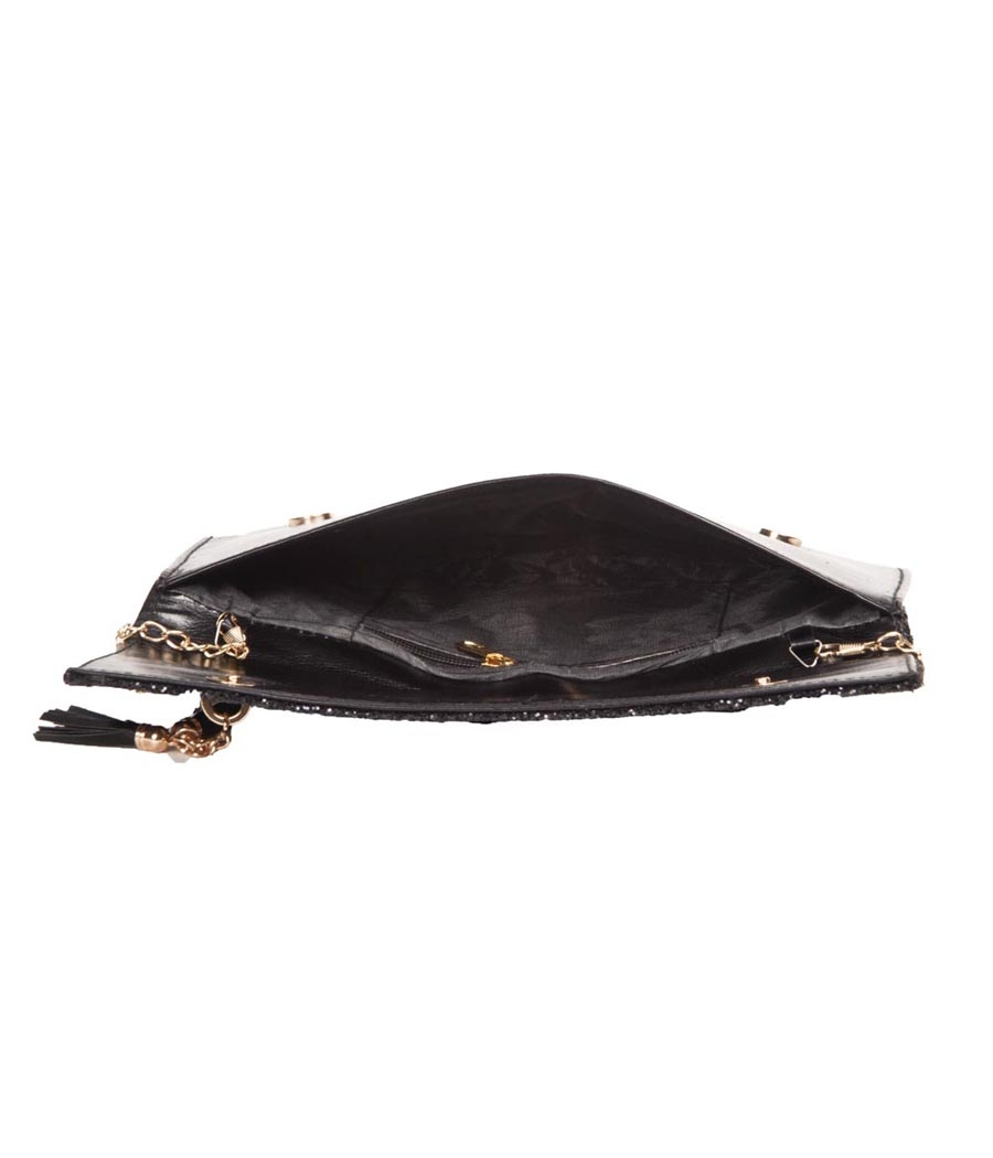 Envie Faux Leather Black Fold Over Magnetic Snap Closure Sequined Sling Bag for Women
