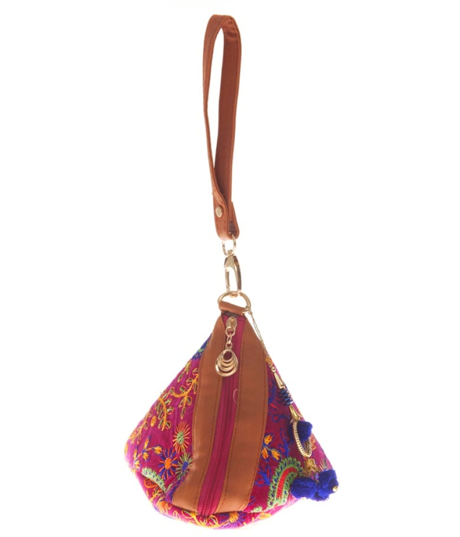 Envie Cloth/Textile/Fabric Pink & Multi Embroidered Potli Bag