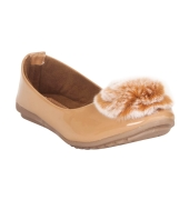 MCS Synthetic Leather Beige Coloured Broad Toe Casual Flats for Women