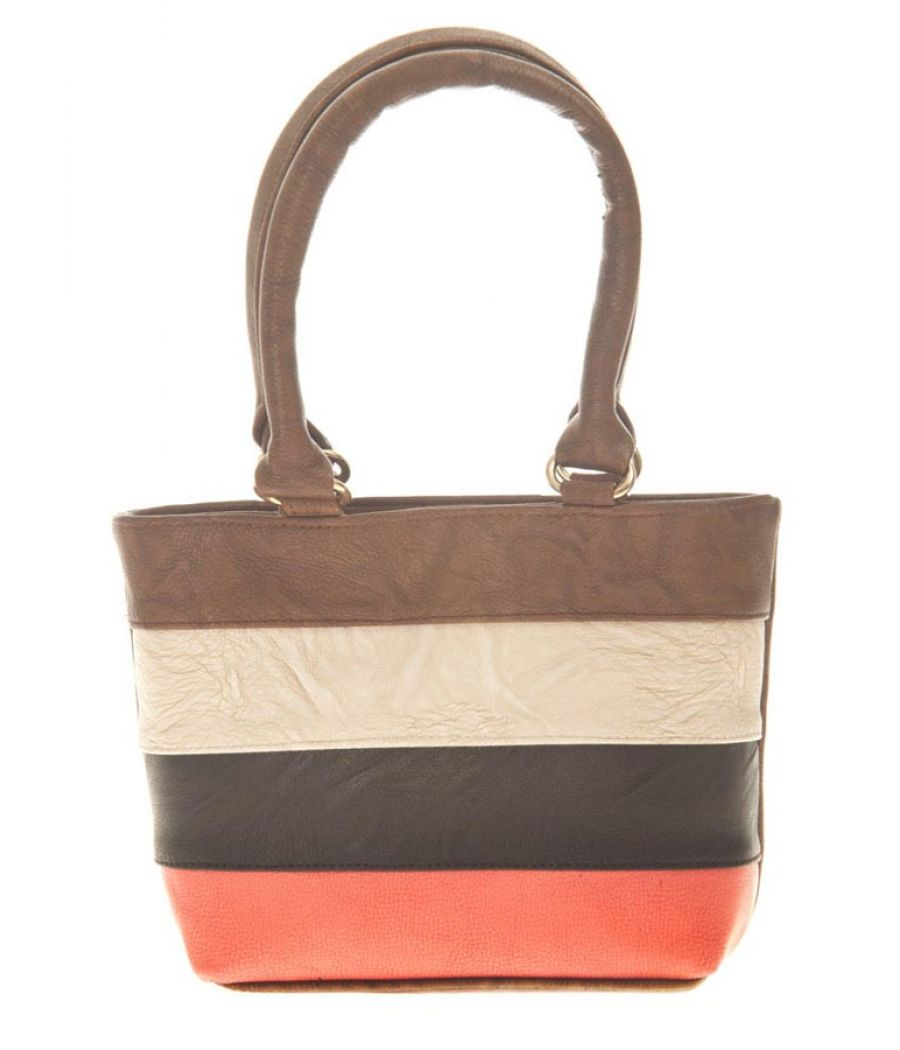 Aliado Faux Leather Solid Coffee Brown & Multi Zipper Closure Tote Bag