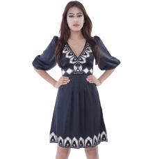 Warehouse Black Dress With Cream & Brown Motifs