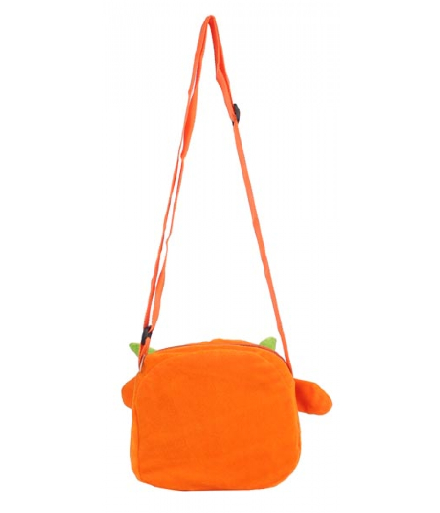 Envie Faux Fur Orange  Coloured Zipper Closure Sling Bag