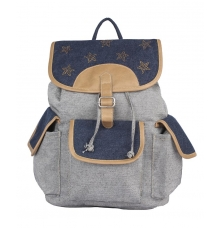 Aliado Cloth Fabric Grey and Navy Blue Solid  Backpack