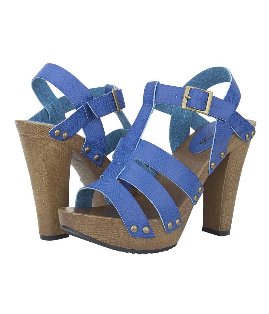 Estatos Pattern Leather Open Toe Buckle Closure Block Wooden Heel Blue Gladiator Sandals for Women