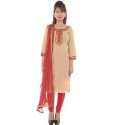 Etashee Chanderi Silk Beaded Peach Suit
