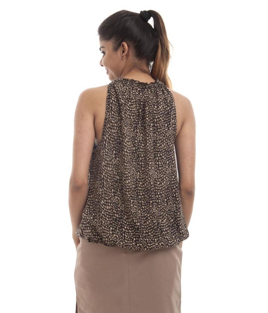 Code Crepe Abstract Print Black & Beige Round Neck Dori Closure Sleeveless Top