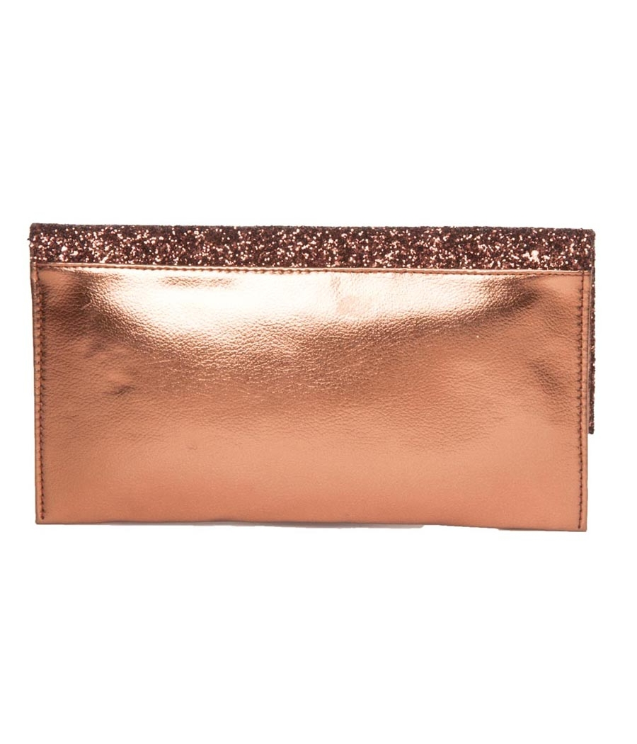 Envie Faux Leather Bronze Fold Over Magnetic Snap Closure Sequined Sling Bag