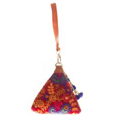 Envie Cloth/Textile/Fabric Embroidered Red & Multi Potli Bag