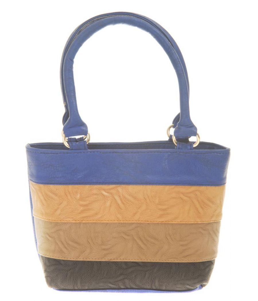 Aliado Faux Leather Solid Blue & Beige Zipper Closure Tote Bag for Women