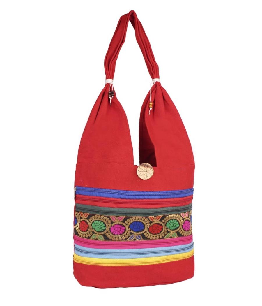Aliado Cloth Fabric Red  Coloured Zipper Closure  Handbag