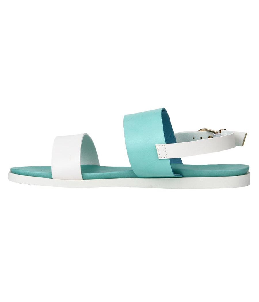 Estatos Faux Leather Open Toe Green and White Twin Strap Buckle Closure  Flat Sandals for Women