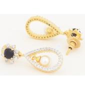 Black Floral Pearl Drop Earrings