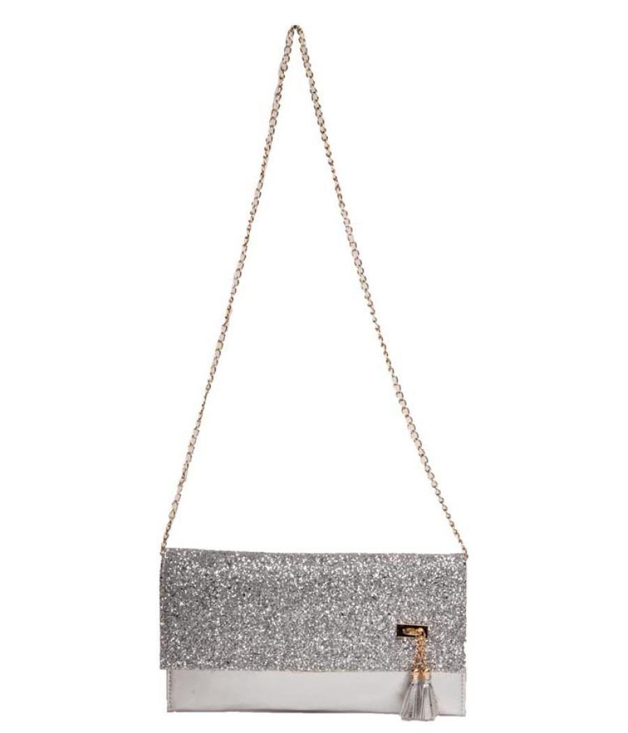 Envie Faux Leather Silver Fold Over Magnetic Snap Sequined Sling Bag