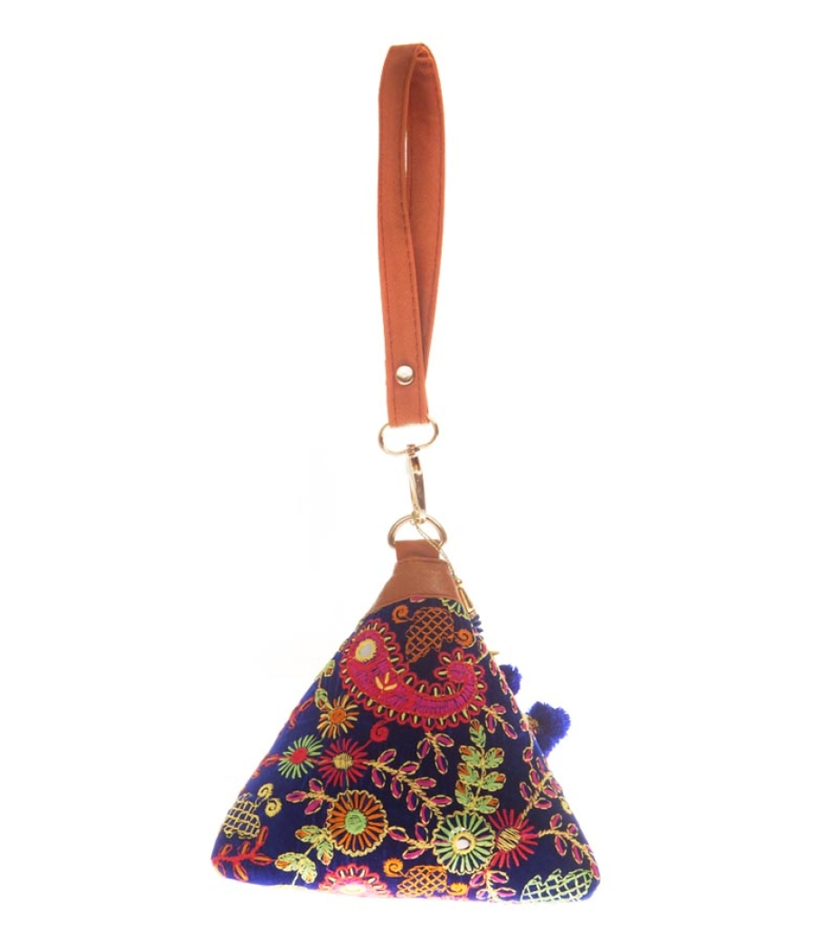 Envie Cloth/Textile/Fabric Embroidered Blue & Multi Stylish Potli Bag