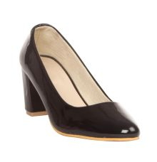 MCS Synthetic Leather Black Coloured Broad Toe Formal Block Heel for Women