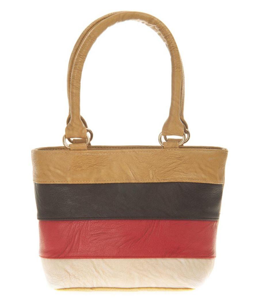 Aliado Faux Leather Solid Beige & Multi Zipper Closure Tote Bag for Women