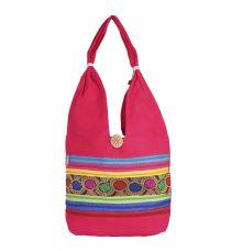 Aliado Cloth Fabric Pink Coloured Zipper Closure  Handbag