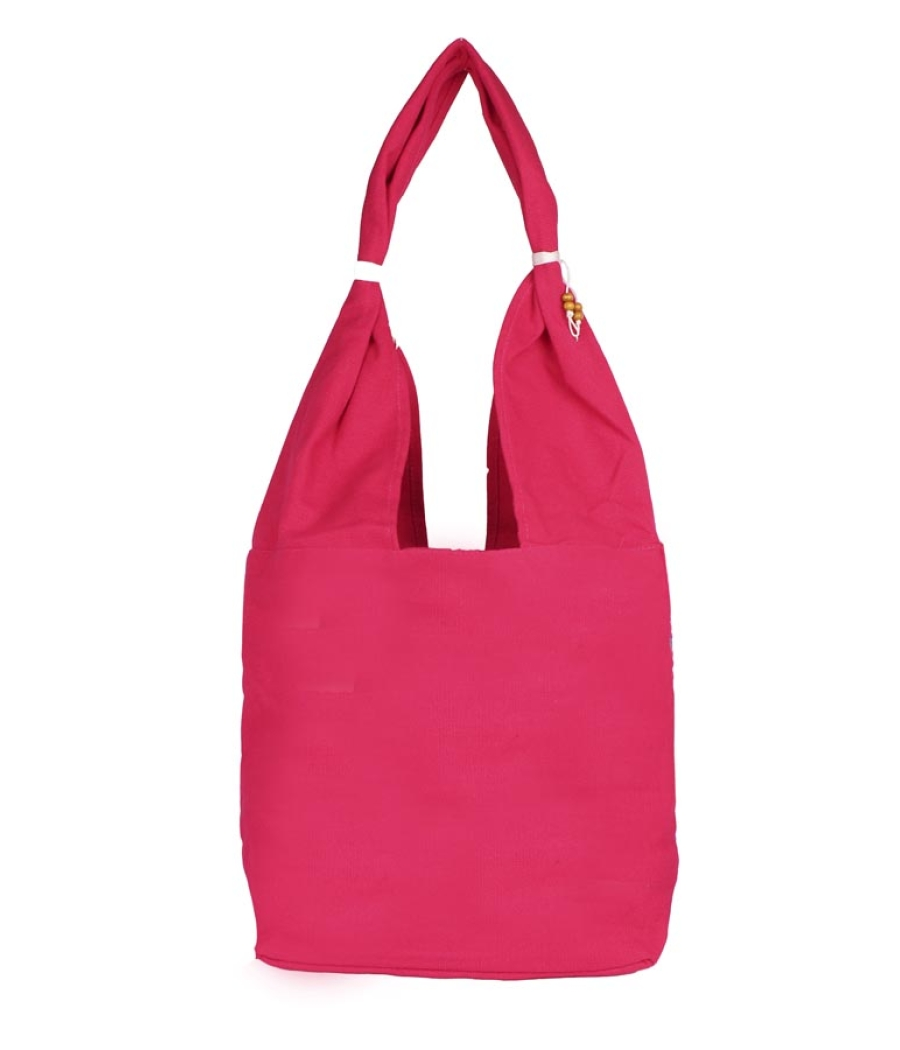 Aliado Cloth Fabric Pink Coloured Zipper Closure  Handbag