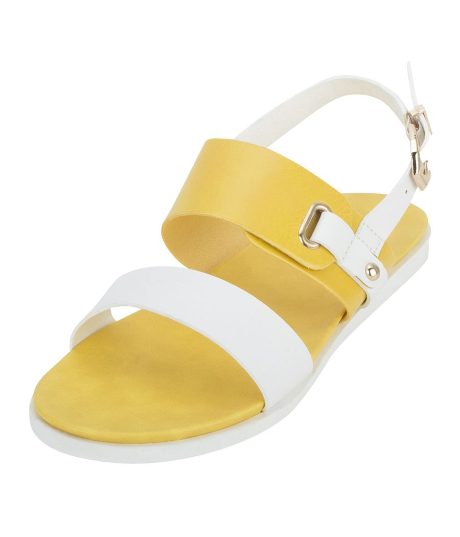 Estatos Faux Leather Open Toe Mustard and White  Twin Strap Buckle Closure Flat Sandals for Women