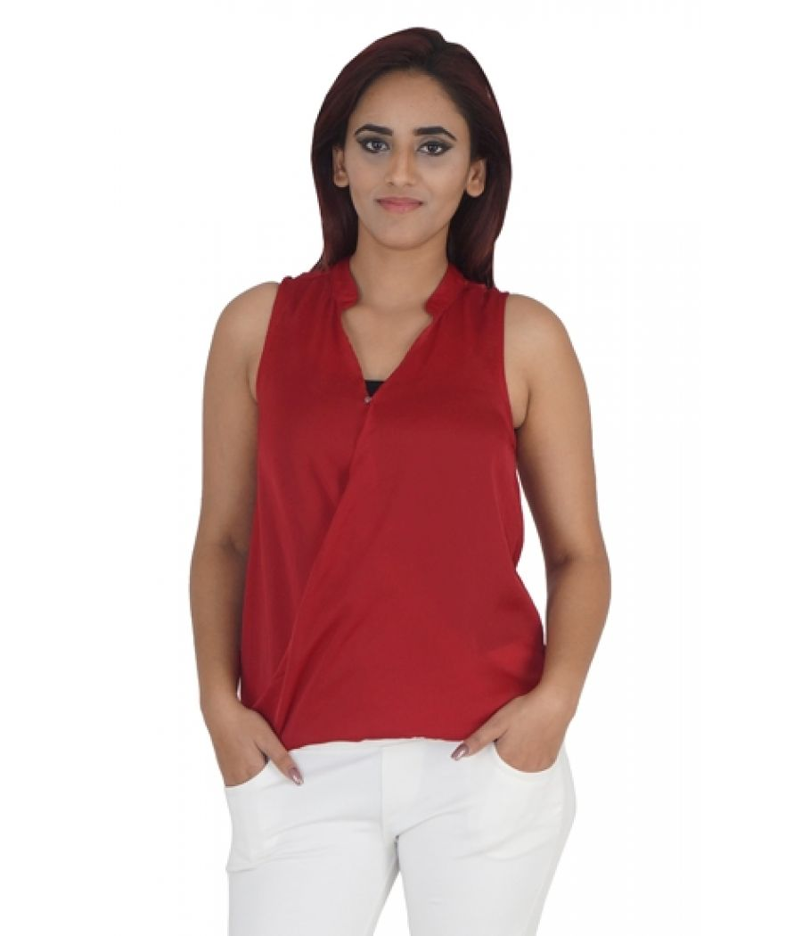 Chemistry Georgette Solid Maroon Sleeveless Button Closure Casual Top