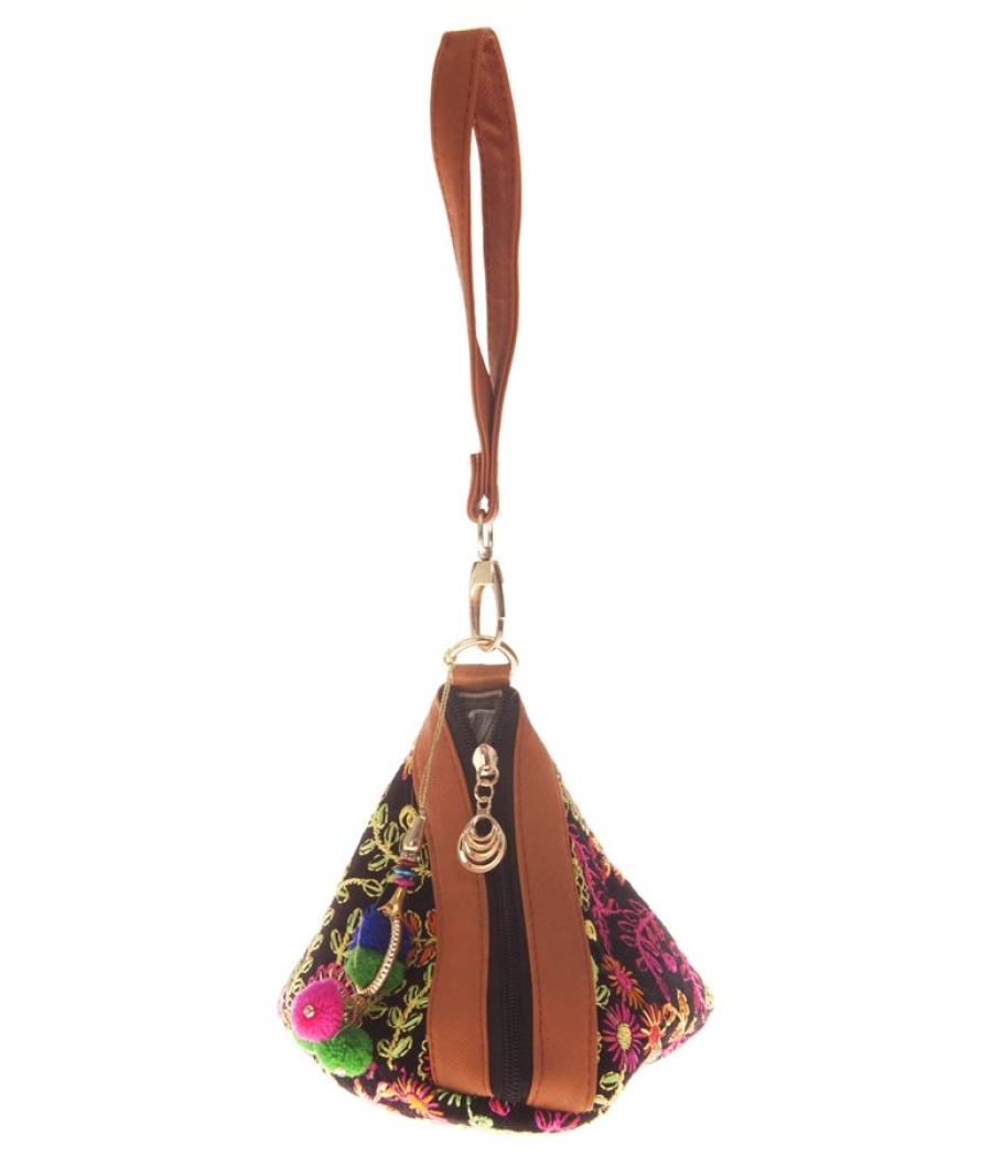 Envie Cloth/Textile/Fabric Black & Multi Embroidered Potli Bag