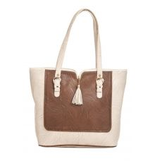 Aliado Faux Leather Solid Cream & Brown Zipper Closure Tote Bag