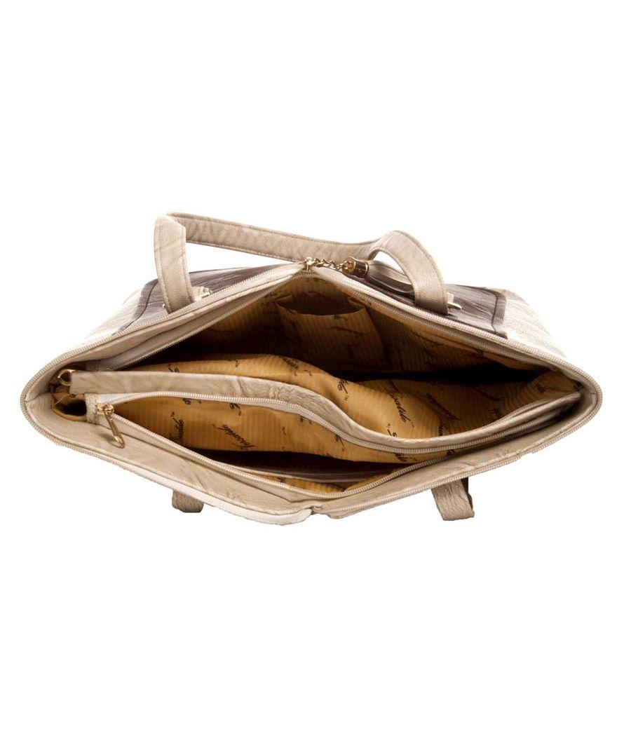 Aliado Faux Leather Solid Cream & Brown Zipper Closure Tote Bag