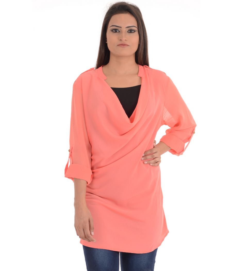 Vero Moda Polyester Solid Plain Pink Coloured Top