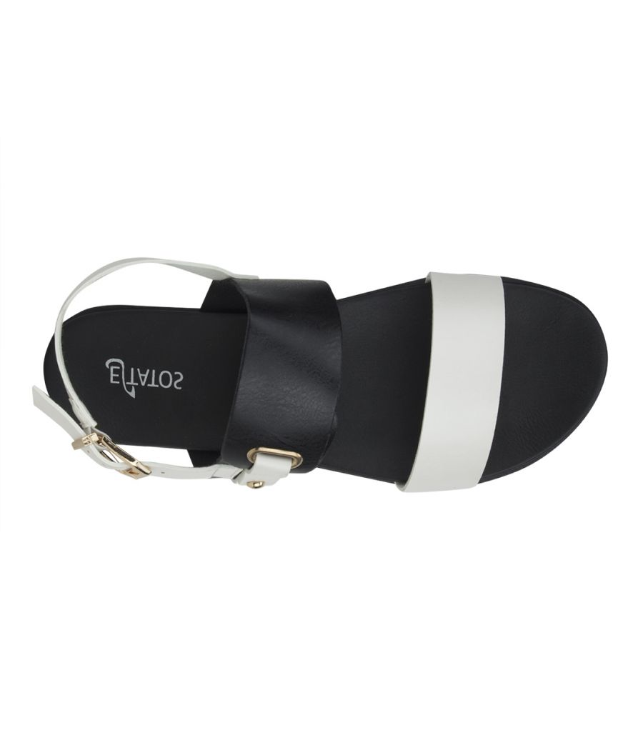 Estatos Faux Leather Open Toe Black and White Twin Strap Buckle Closure  Flat Sandals for Women