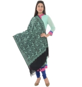 Black/Green Embroidered  Fringed Shawl