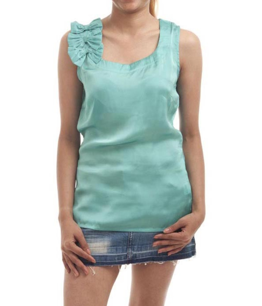FZI Satin Plain Solid Green Sleeveless Square Neck Casual Top