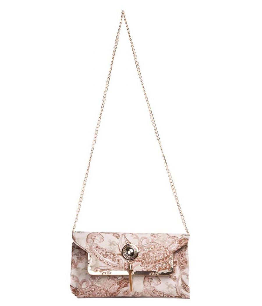 Envie Faux Leather Printed Cream & Brown Magnetic Snap Fold Over Sling Bag