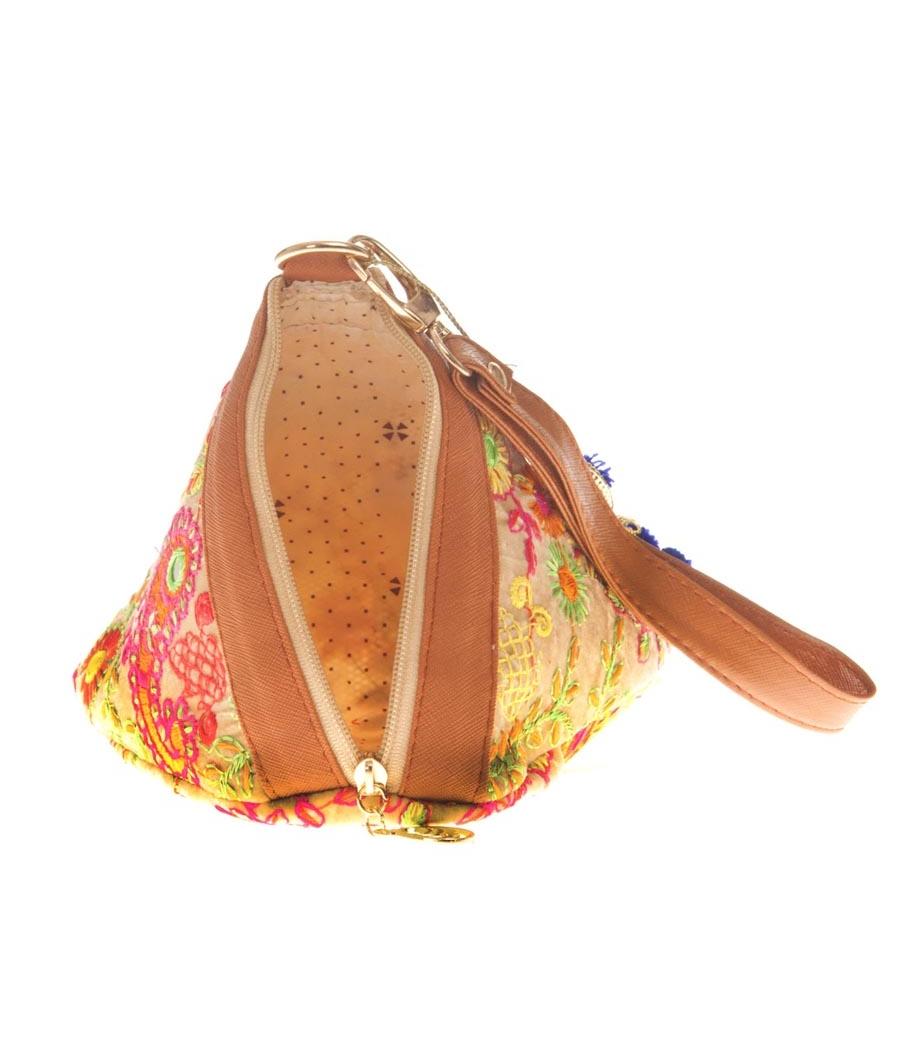 Envie Cloth/Textile/Fabric Embroidered Beige & Multi Potli Bag