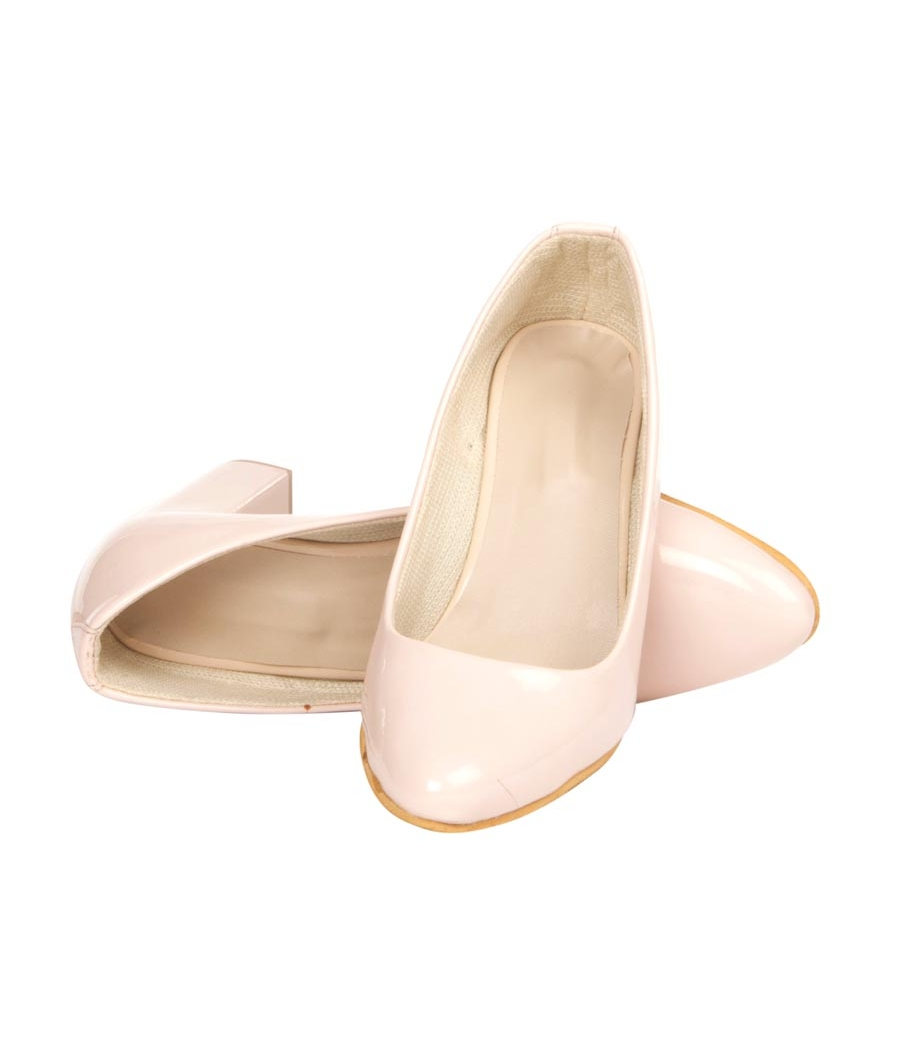 MCS Synthetic Leather Pink Coloured Broad Toe Formal Block Heel for Women
