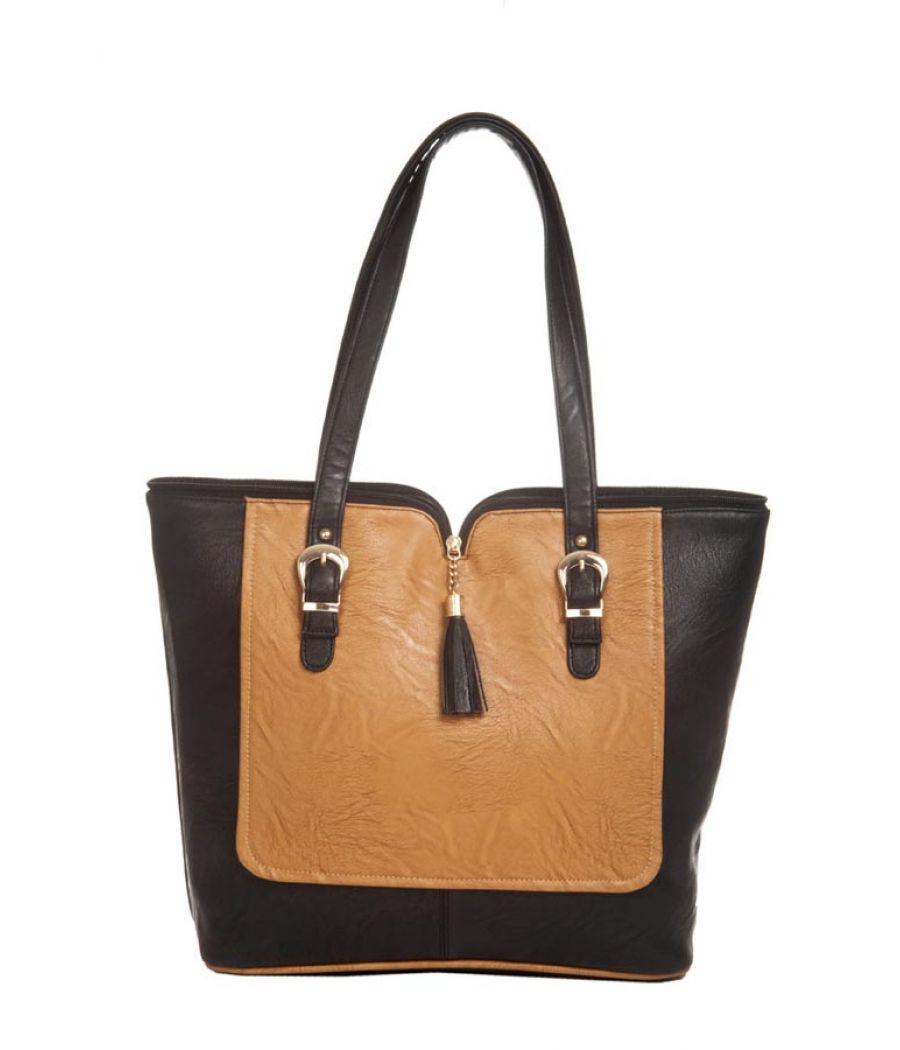 Aliado Faux Leather Solid Black & Brown Zipper Closure Tote Bag