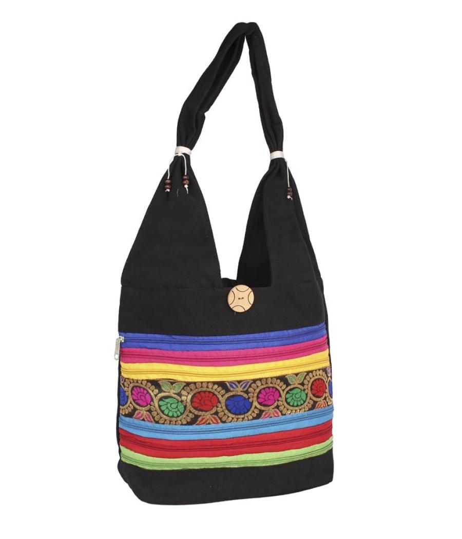 Aliado Cloth Fabric Black  Coloured Zipper Closure  Handbag