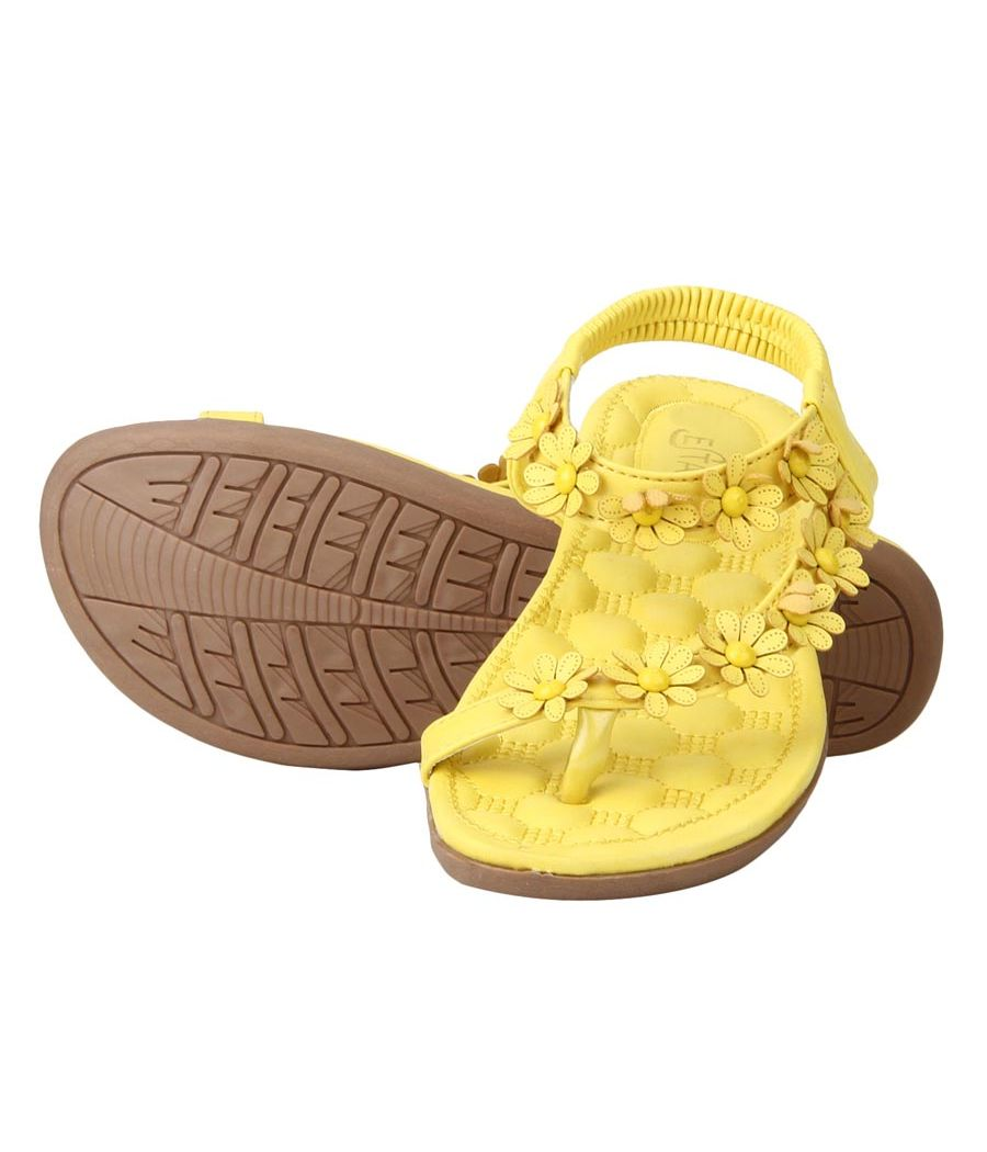 Estatos Faux Leather Flower Decorated Toe Strap Elastic Closure Padded Sole Yellow Flat Sandals for Women