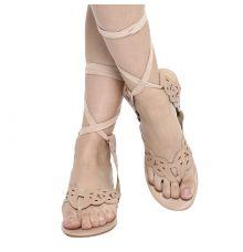 Estatos Leather Beige Colour Wrap Around Strap Open Toe Casual Flat Sandals
