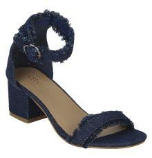 Estatos Denim Navy Blue Buckle Closure Ankle Strap Open Toe Block Heel Sandals