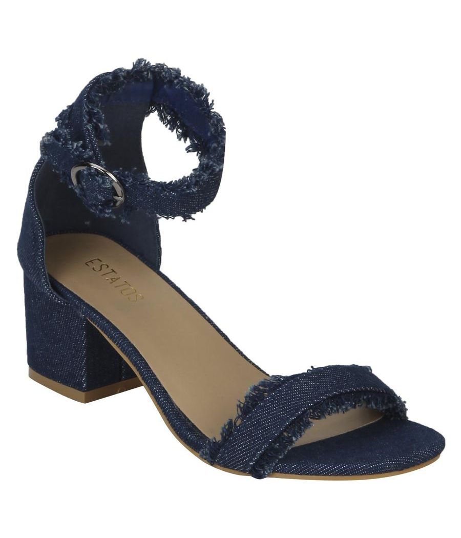 Estatos Denim Navy Blue Buckle Closure Ankle Strap Open Toe Block Heel Sandals