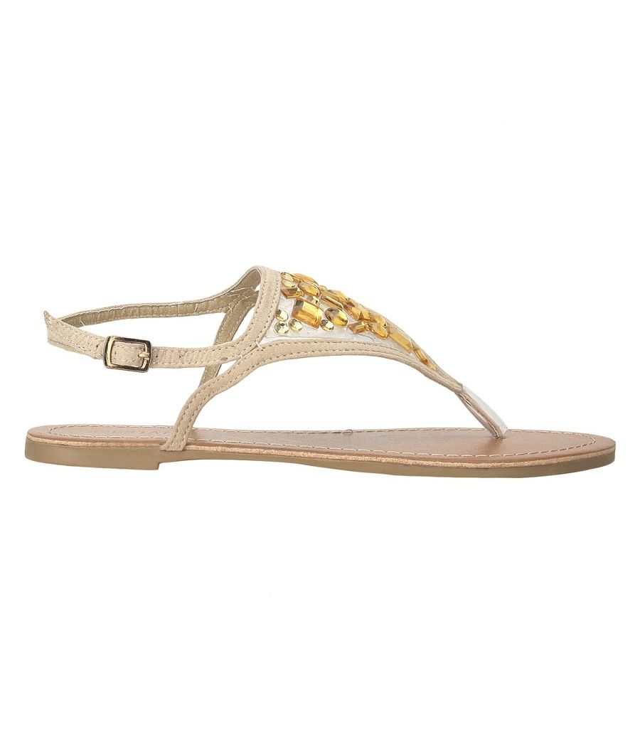 Estatos Suede Beige  Buckle Closure Ankle Strap Open Toe Flat Sandals
