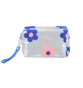 Aliado PVC transparent Zipper with blue and pink embroidery cosmetic bag/pouch