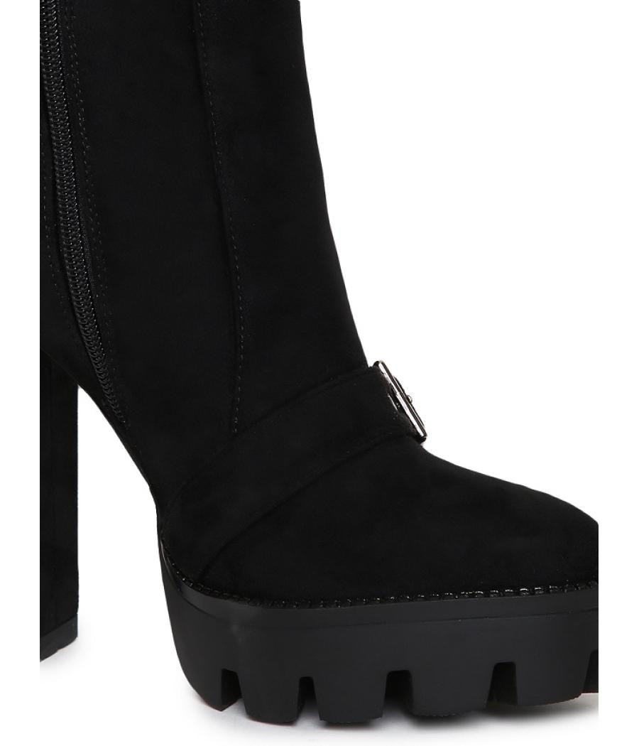Estatos Black Coloured Block Heels Boots for Women