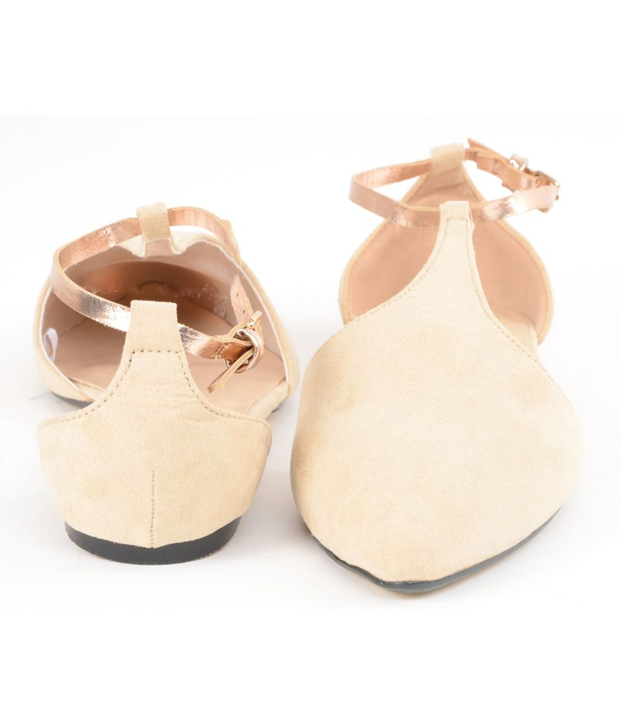 Estatos Suede Leather With Shiny Golden Strap Flat Nude/Beige/Cream Sandals