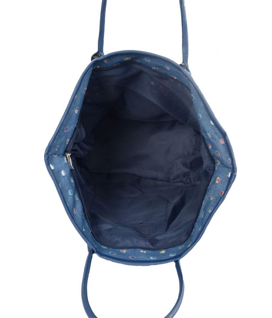 Aliado Denim designer patchwork Blue Handbag
