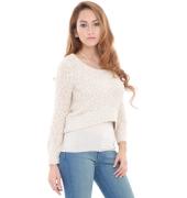 Estance Metallic Knitted Plain Cream Sweater