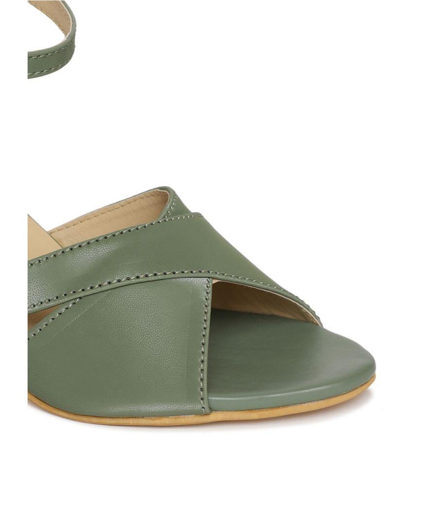 Estatos Green Comfortable Block Heel Buckle Closure Sandals  for Women