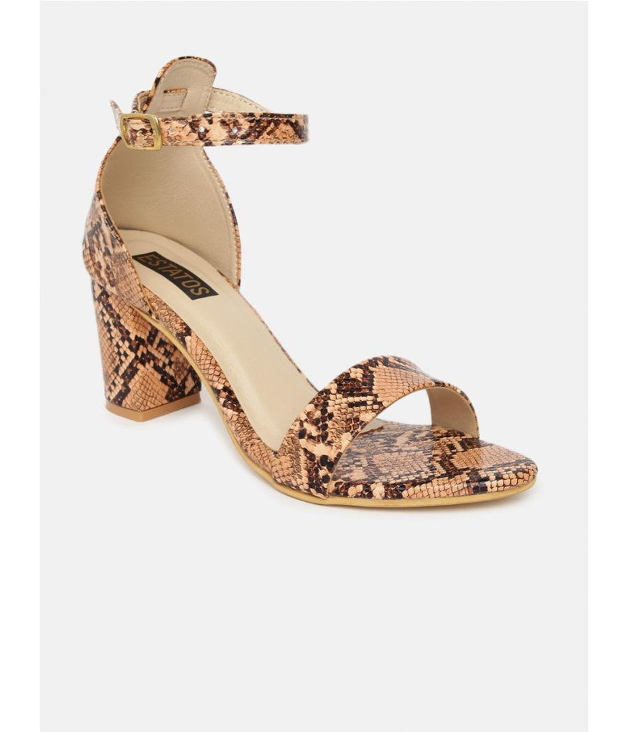Estatos Leather Ankle Strap Block High Heeled Peach Sandals