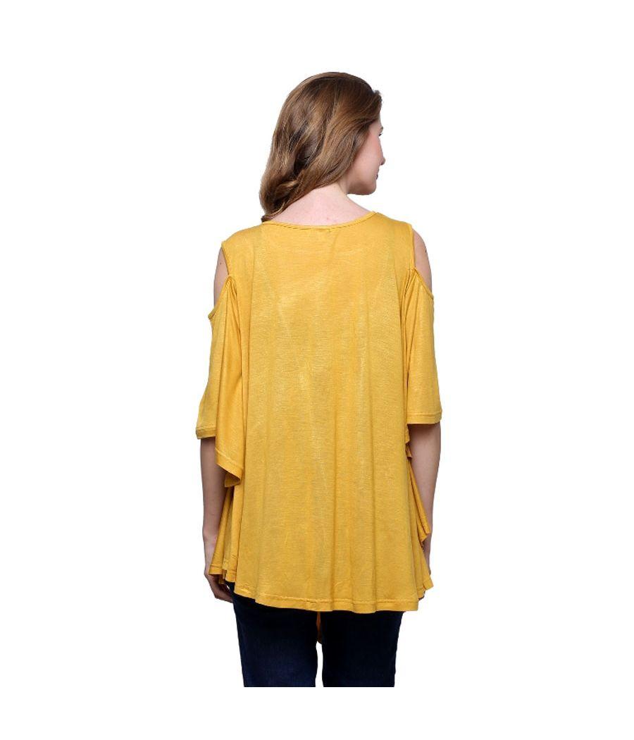 Estance Hosiery Solid Cold Shoulder Mustard Top