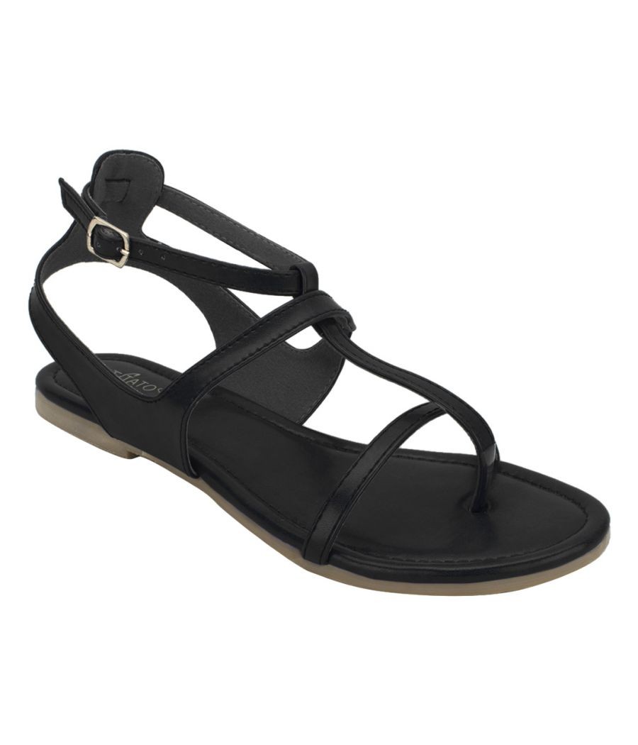 Estatos Summer Cool Leather Mesh Style Buckle Closure Black Flat Sandals for Women